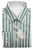Brioni Italy Green White Stripe Cotton Dress Shirt Sz Iii 16 M L on sale