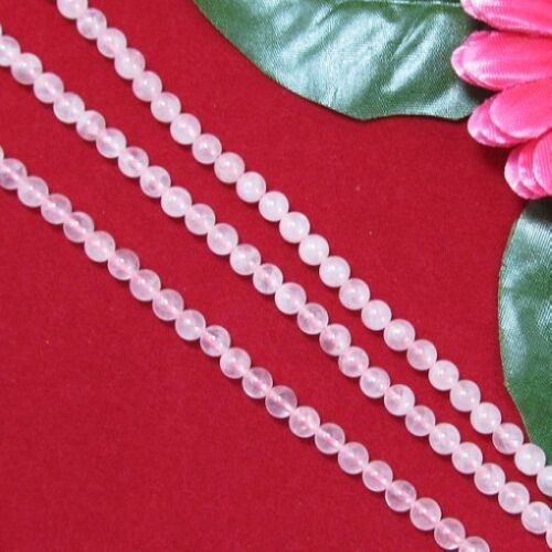 3 Fil Quartz Rose 6mm Ronde Perles