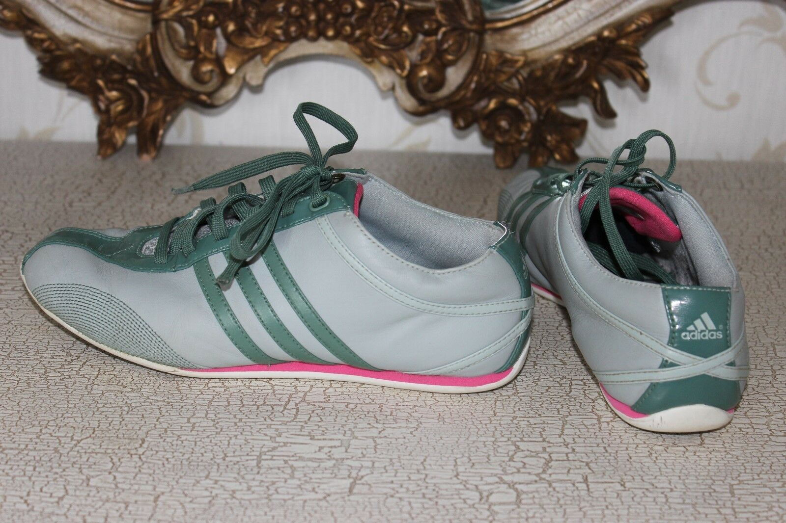 ADIDAS Light Grey & Green  Genuine Leather Ladies Training shoes Size 5