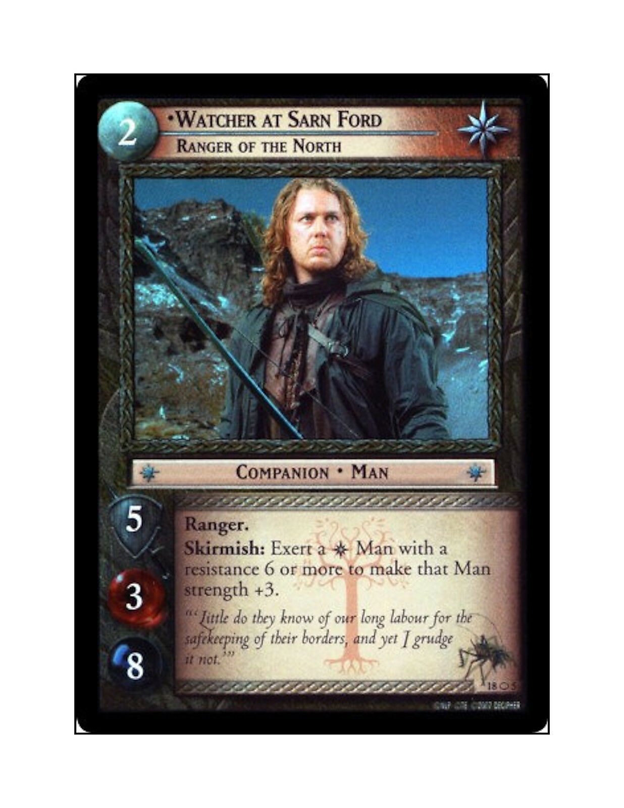 LotR TCG T&D MW FOIL 18O5 Watcher at Sarnford, Ranger of the North - MINT