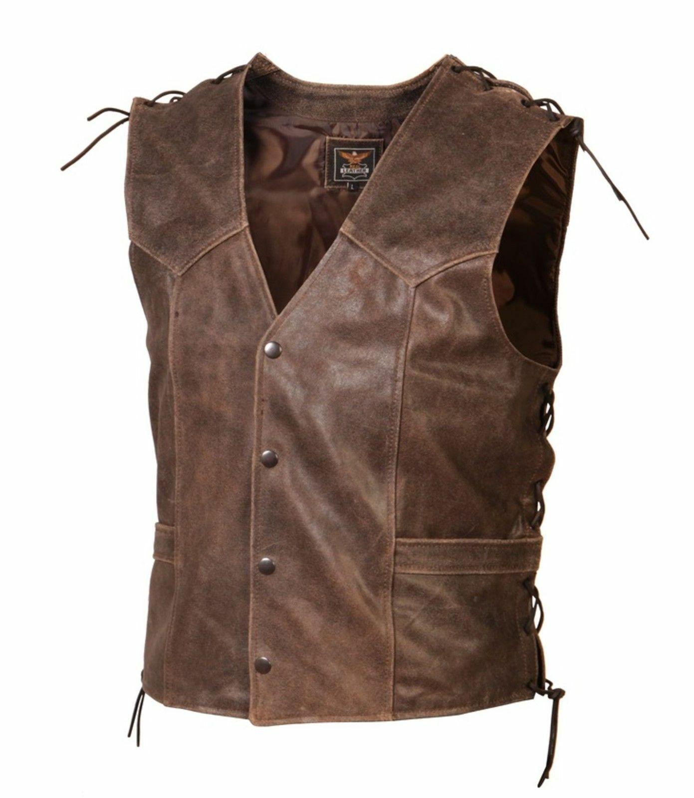Lederweste Leder Weste Antikleder brown antik Kutte Biker Cowboy Western