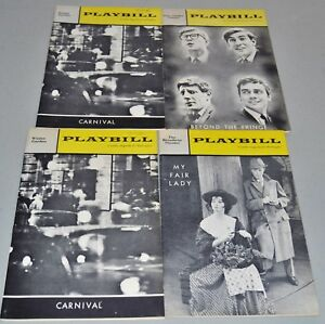 1962-1963-Playbills-Mixed-Lot-of-4-Marketing-Airline-Pockets-Attached