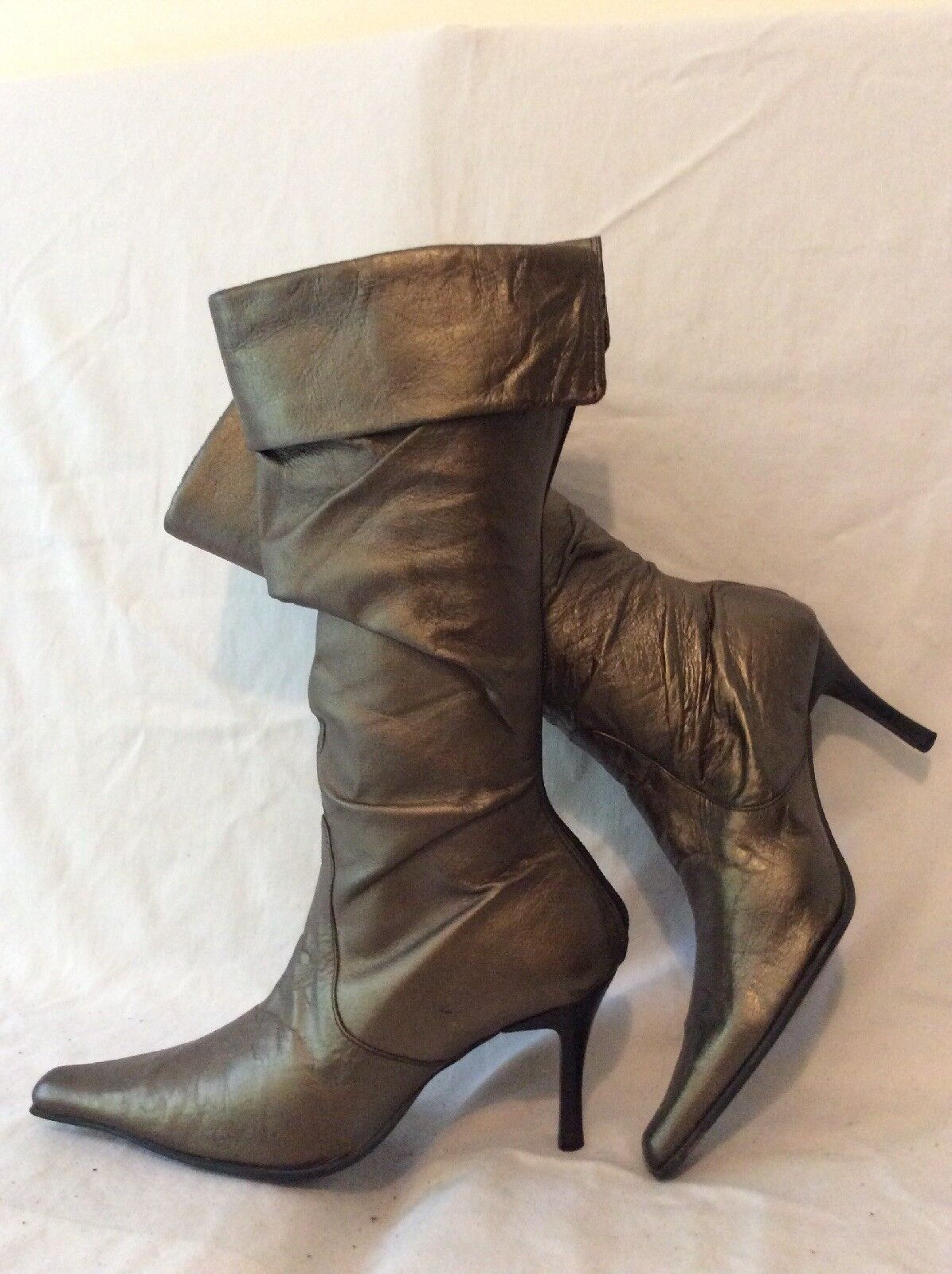 Bata Bronze Mid Calf Leather Boots Size 38