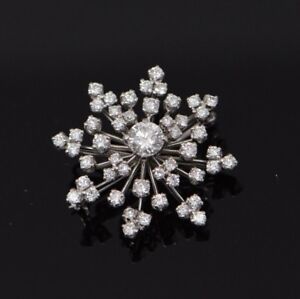 534192ab6e0de Details about Superb Platinum Snowflake Diamond Pin/Pendant, circa 1950
