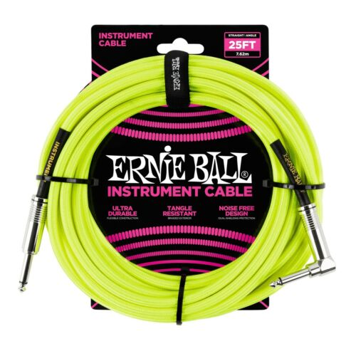 Ernie Ball 25 foot Neon Yellow braided guitar cable instrument angle end bass