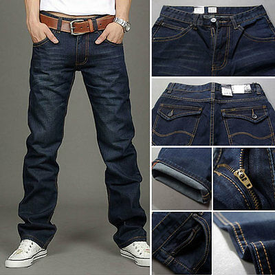 Classic Stylish Men's Designed Straight Regular Fit Trousers Jean Pants Blue