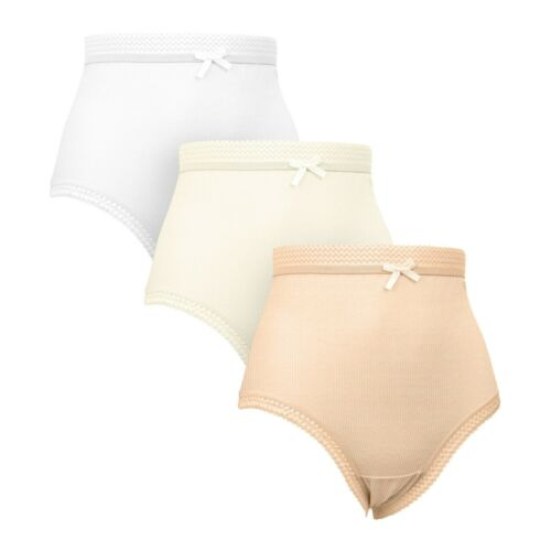 Ladies Womens 3//6//12 Pk Pure Cotton RIBBED Full Size Mama Briefs Knickers PASTEL