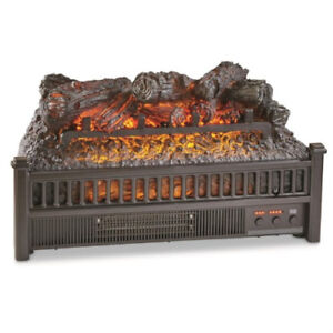 Electric Fireplace Logs Insert With Heater Realistic Flames Fan