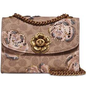 c9e070a4250d COACH Signature Rose Prints Parker 18 Tan Chalk 31696 Shoulder Bag ...