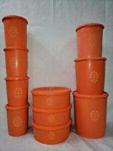Set-of-10Tupperware-Orange-Servalier-Nesting-Canister-Set-w-Lids-VINTAGE-20pc