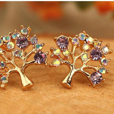 UN3F Fashion Women Rhinestone Pierced Hollow Christmas Tree Earrings Ear Stud