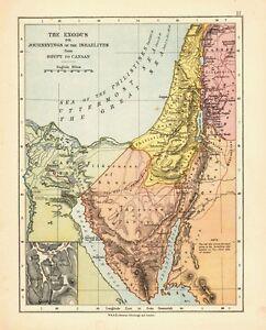 1878 Viktorianisch Landkarte ~ Die Exodus Oder Journeyings Von Israeliten