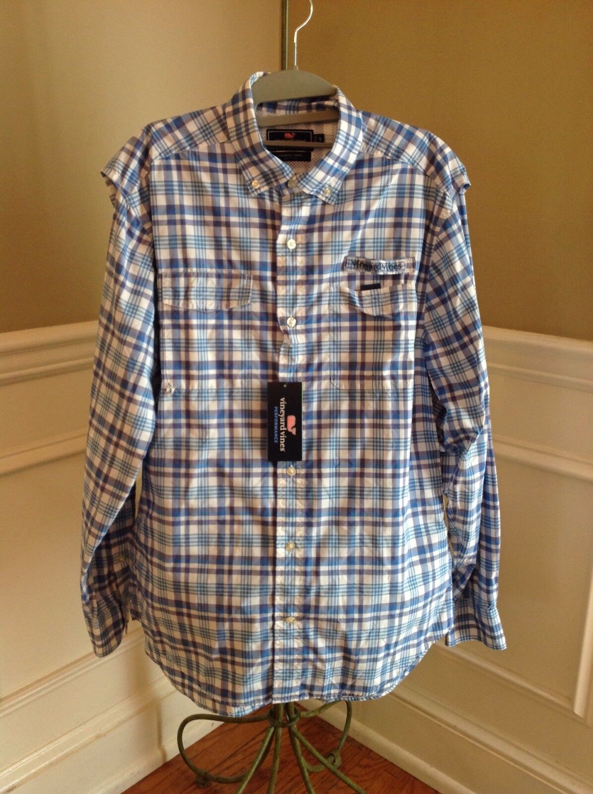 NWT Vineyard Vines Flag bluee Bodkin Plaid Harbor Fishing Shirt Size Medium