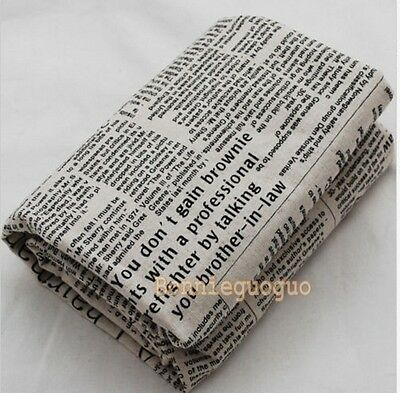 Retro Cotton Linen Blend Fabric (Newspaper News Print) - Brown Text