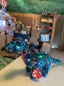 3e5a425515d Image is loading Ty-FLIPPABLES-TREMOR-Pink-Turquoise-Sequined-Dinosaur-6-