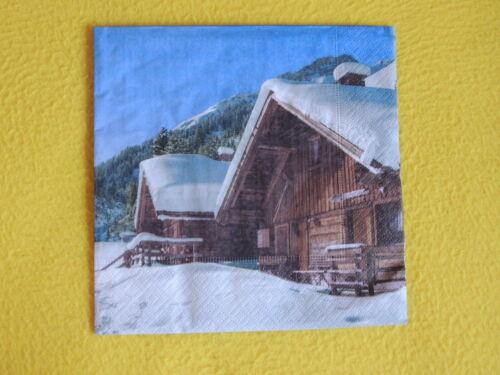 5 Servietten Hütte Holz Winter BERGE Weihnachten Serviettentechnik Motivserviett