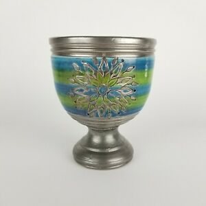 Mid Century Bitossi Pottery Vase Cachepot Blue Green Silver Star Footed Planter