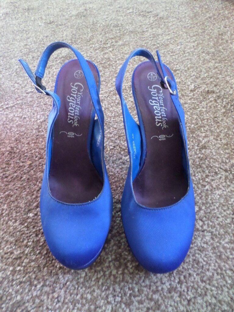 New Look Blue Navy Slingback  Round Toe Pump Slingback Navy High Heels Size 4/37 8906ea