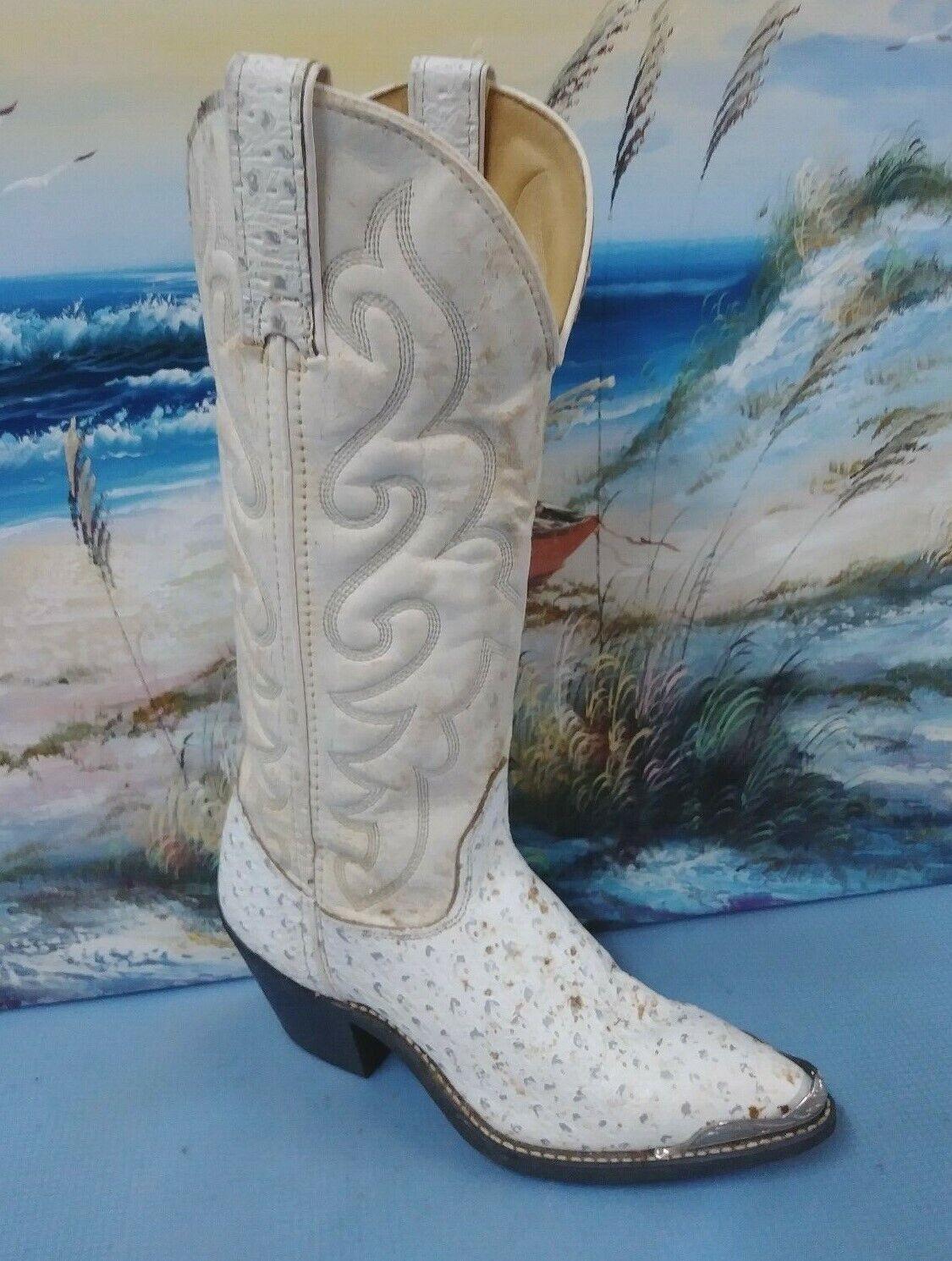Womens  Texas cream Ostrich skin metallic toe  Cowboy Boots  SIZE 5 M    4207