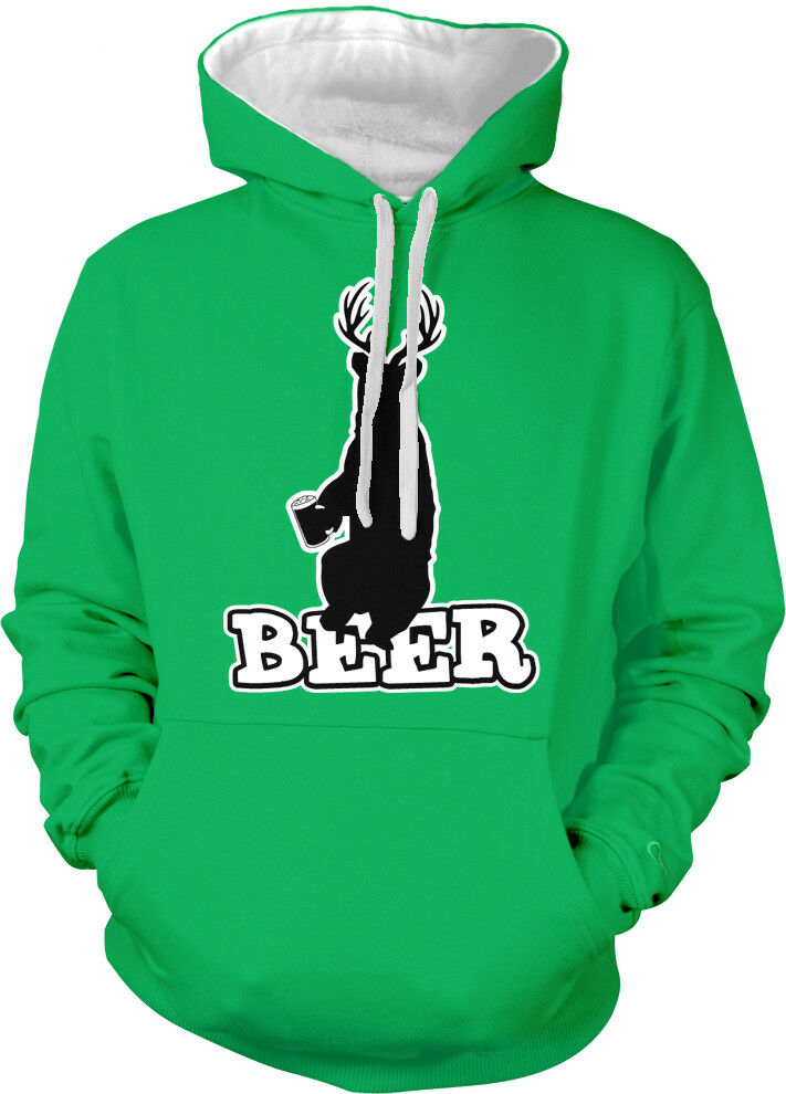 Beer Deer Bear Antlers Animal Cross Between Bar Party Two Tone Hoodie Sweatshirt