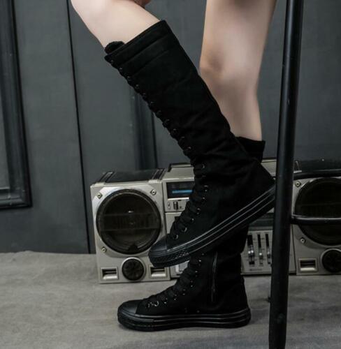 Super Hoch Top Sneaker Canvas Chunk Stiefel Schuhe Damen Reißverschluss Sports
