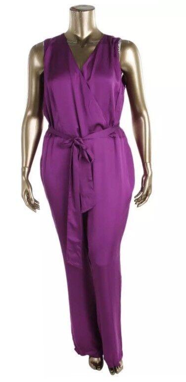 NWT Lauren Ralph Lauren Womens  Purple Wide Leg Jumpsuit Plus Size 18w MSRP  185