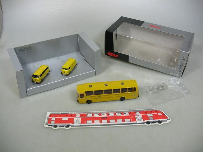 AA595-0,5Schuco H0 25584 Set Bundespost  Volkswagen T1 + T2, MB Bus, NEUW+OVP