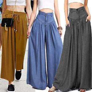3d689d8d63 Plus Size Womens Palazzo Wide Leg Pants Culotte Yoga Loose Baggy ...