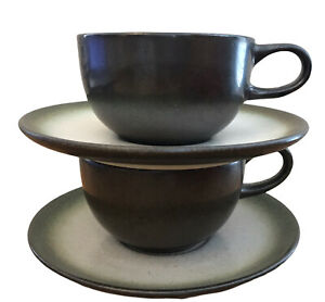 Heath-Ceramics-Coffee-Cups-Saucers-Set-of-2-MCM-Vtg-Tea-California-Pottery-Rim