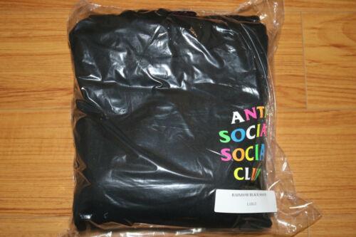 IN-HAND 100/% Authentic Anti Social Social Club Rainbow Logo Hoodie Black