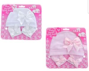 Baby Girls Gorgeous Ribbons Hat   Socks Gift Set ☆ Baby Hat - Baby ... 8ee12a3b1e7