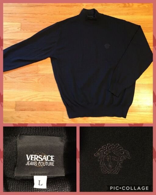 Vintage GIANNI VERSACE Black Wool Logo Pullover Sweater Men's L Classic Beatnick
