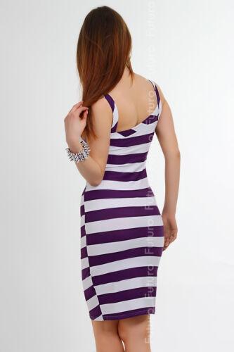 Women/'s Summer New Dress Strips Pattern Jersey Pleated UK Stock Size 8-12 FK1173
