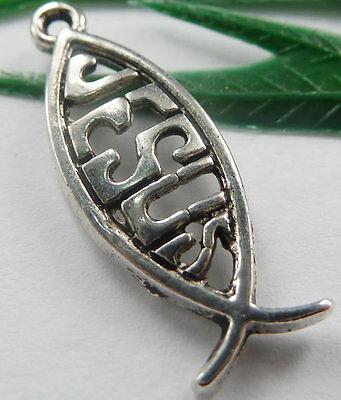 Wholesale free ship 66pcs tibet silver fish charms 27x10mm