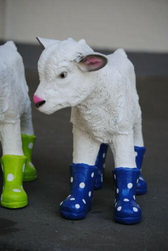 Gartenfigur Ziege mit Stiefel blau Ziegenbaby Schaf Garten  Zicklein Lamm