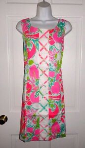 NWT LILLY PULITZER FLAMINGO PINK DON'T GIVE A CLUCK CATHY  SHIFT DRESS 12 14 16