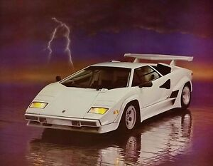 Details about Vintage LAMBORGHINI LIGHTNING SPORTS CAR POSTER 1988  Authentic Original RARE