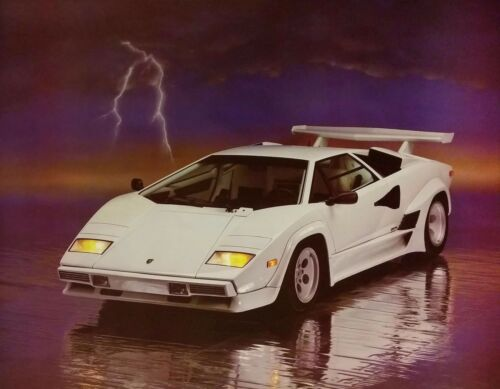 Vintage and SEALED from 1988 LAMBORGHINI LIGHTNING SPORTS CAR POSTER