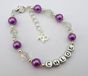 Image Is Loading Girls Purple Personalised 18th Birthday Bracelet Jewellery In