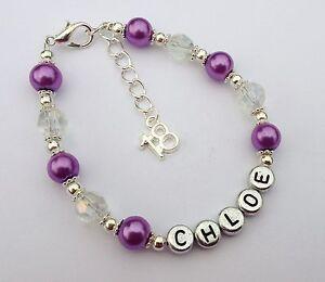 Girls purple personalised 18th birthday bracelet jewellery in gift bag!