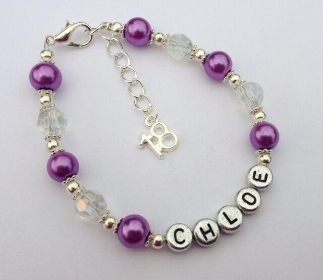 S Purple Personalised 18th Birthday Bracelet Jewellery In Gift Bag