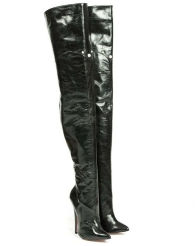 Leather Mori Botas Pearl Stiefel Boots Stivale Nero Heels Nero Extreme Overknee 8qwrY68Bx
