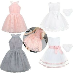Infant Baby Flower Girl Dress Princess Floral Lace Wedding Party Birthday Dress