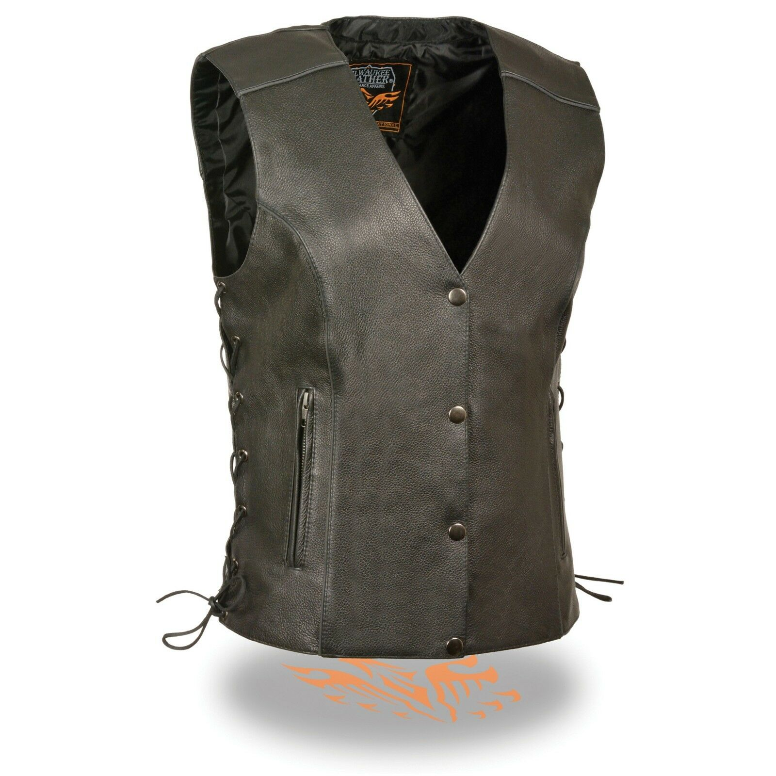 Milwaukee Leather Women's Side Lace Vest With  Reflective Piping  MLL4500 BLK