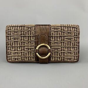GIVENCHY-Brown-Leather-amp-Gold-Monogram-Gathered-Canvas-Wallet