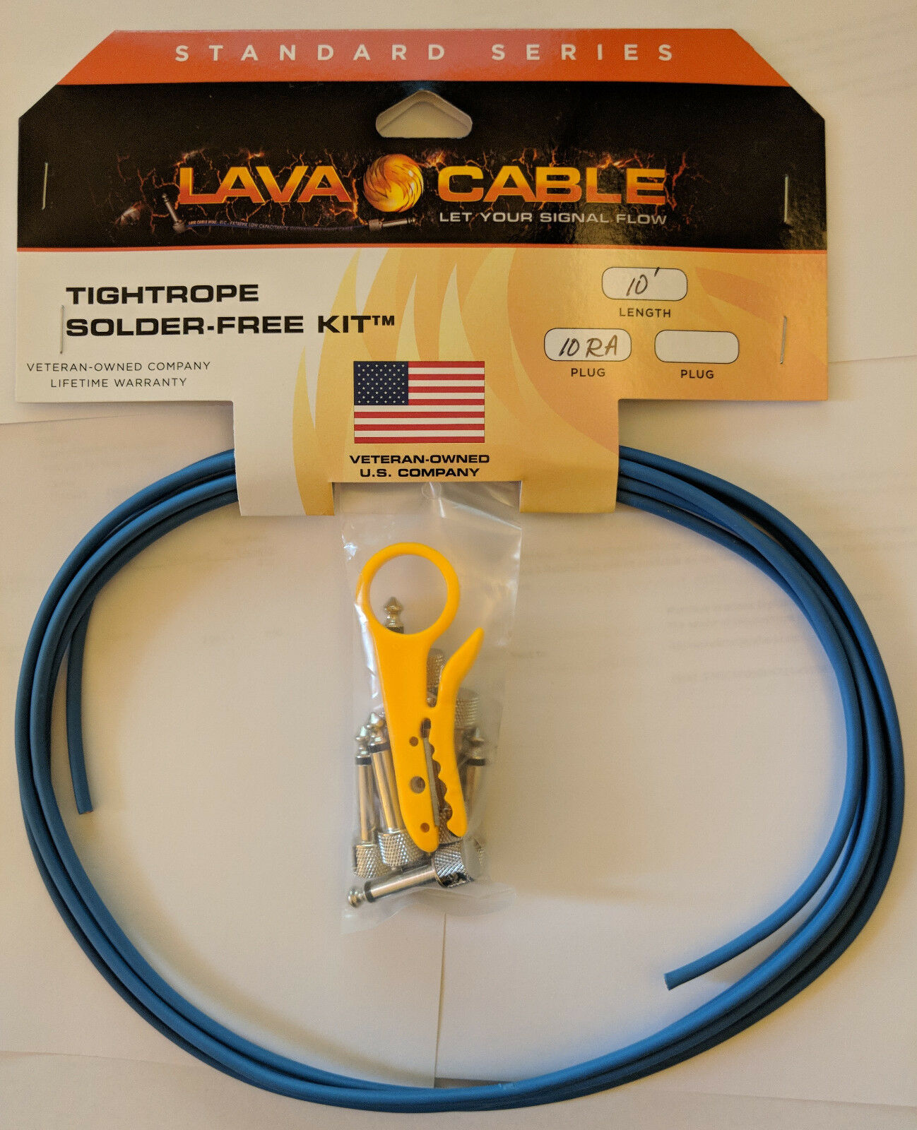 Lava DIY Solderless Cable TS Kits 10 RA Plugs + Stripper, 10 ft Cable - 5 colors