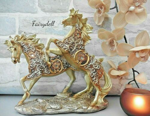 Golden Filigree Rearing Horses ~ Horse Ornament Figurine Room Decor 24cm x 24cm