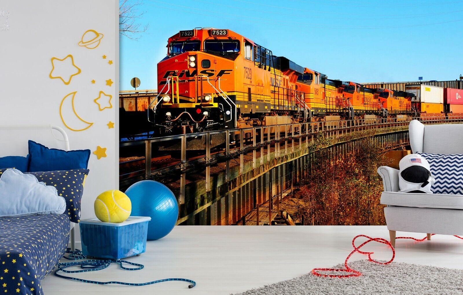 3D Blau Sky Train I41 Transport Wallpaper Mural Sefl-adhesive Removable Angelia