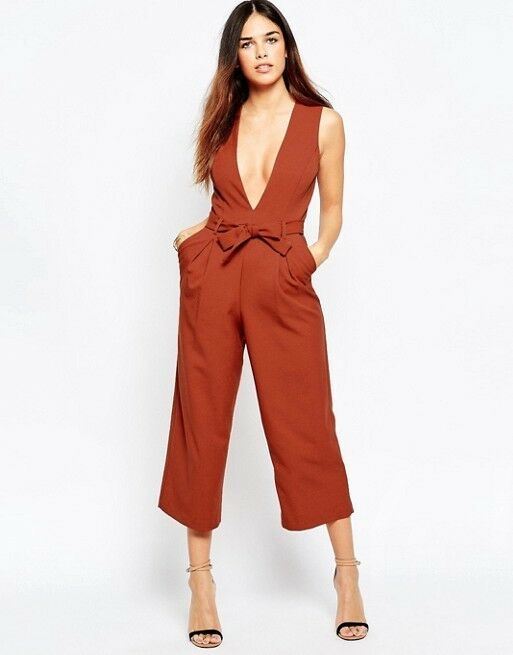 Asos Size 18 Rust orange Plunge Fitted Jumpsuit Culottes Midi