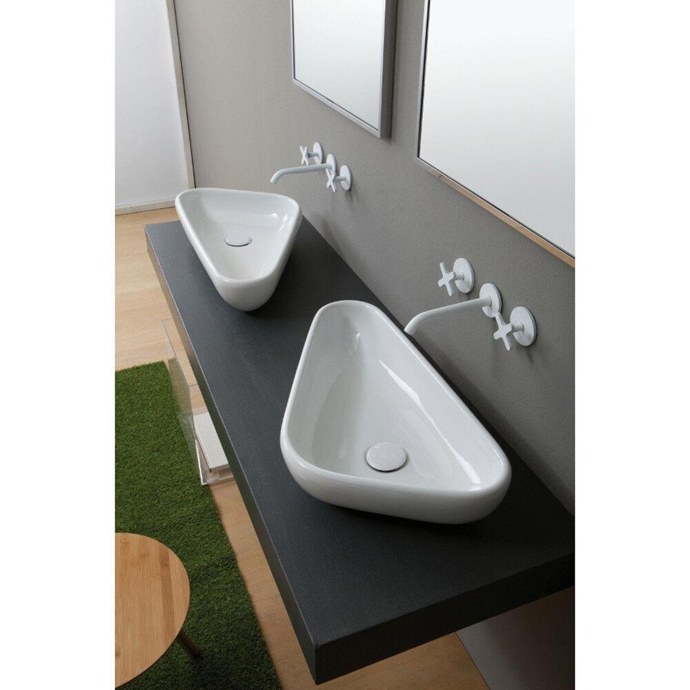Lavandino Lavabo da appoggio Moderno Serie Scalene in ceramica bianco